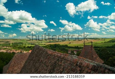 Viscri village and fortified church of Viscri, Transylvania, Romania. - stock photo