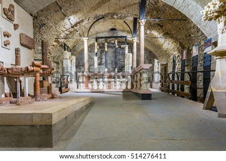 VISEGRAD, HUNGARY MAY 22, 2016:View of a chamber of the royal palace in Visegrad, Hungary