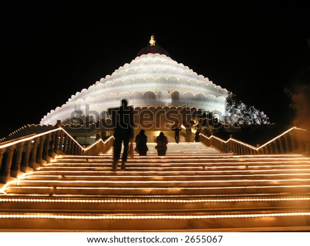 Vishalakshi Mantapa,Bangalore,India .This is the jewel of the crown that is the ashram.At night, fully lit up, it shines like a multi-layered crown. - stock photo