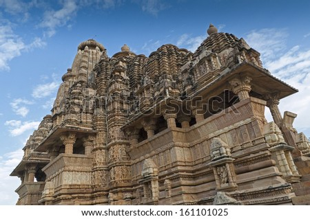 Vishvanatha Temple, dedicated to Shiva, Western Temples of Khajuraho, Madhya Pradesh, India - UNESCO world heritage site. Popular tourist destination for tourists from all over the world.