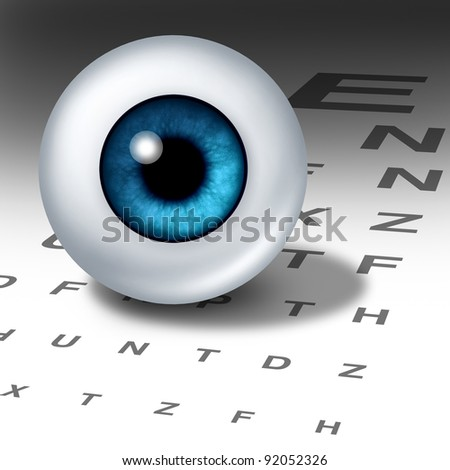 Vision and eyesight for healthy eyes with good ocular focus using an eye chart to help focus for near sighted and far sighted retina and lens diagnosis from an optometrist  for ophthalmology. - stock photo