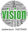 Vision and strategy concept in word tag cloud - stock photo