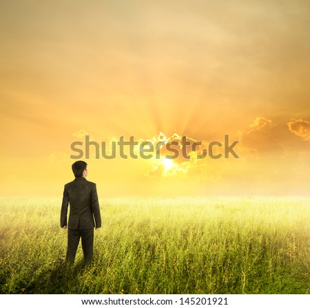 Vision business man in  fields and sunset - stock photo