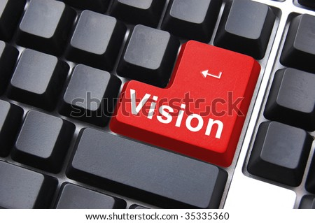 vision button showing concept of idea, creativity and success