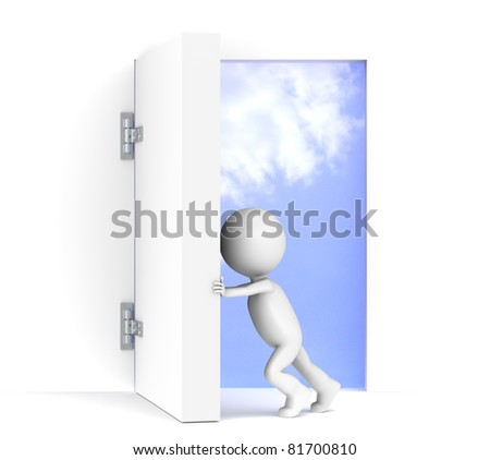 Vision. 3D little human character opens a massive door. Sky background with luminance. - stock photo