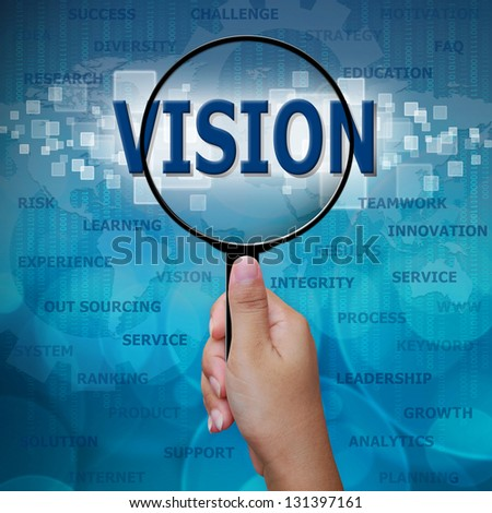 VISION in Magnifying glass on blue background
