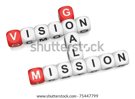Vision, Mission, Goals crossword on white background 3d render