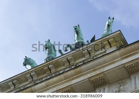 Vision of the Brandenburg Gate from the front and from the bottom