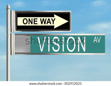 Vision. Road sign on the sky background. Raster illustration.