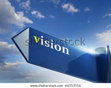 vision road sing for business and financial concepts
