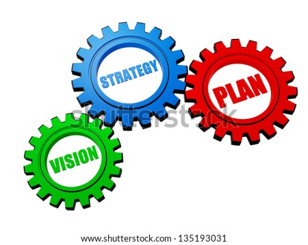 vision, strategy, plan - business concept words in 3d different colors gearwheels - stock photo