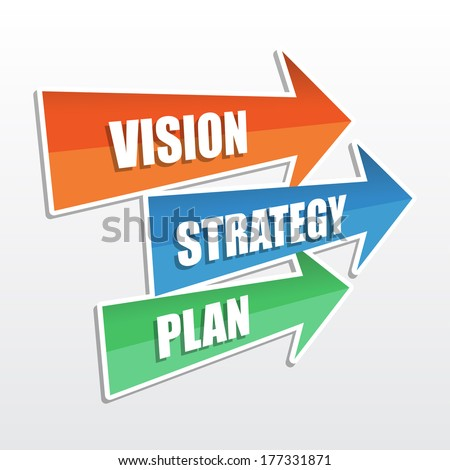 vision, strategy, plan - text in arrows, business development concept, flat design - stock photo