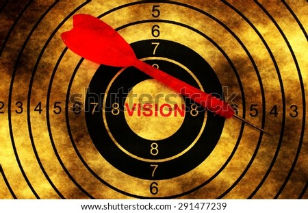 Vision target on grunge background concept - stock photo