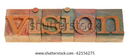 vision - word in vintage wooden letterpress printing blocks isolated on white