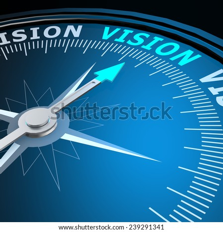 Vision word on compass image with hi-res rendered artwork that could be used for any graphic design. - stock photo