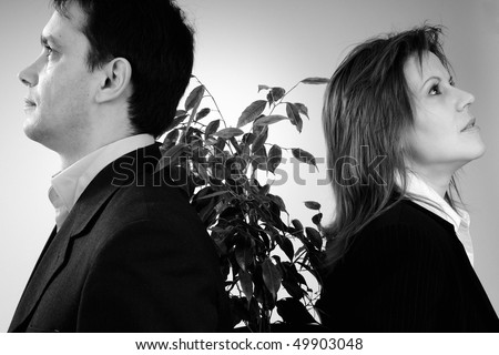 visionary man and woman - stock photo