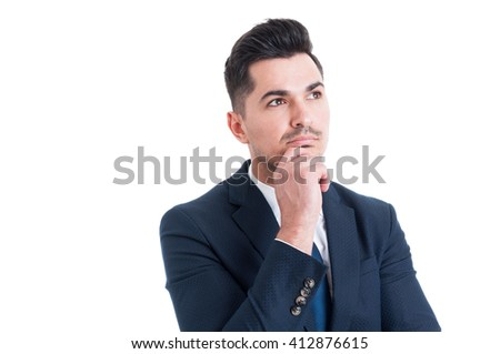 Visionary sales manager thinking and looking up to the future isolated on white background
