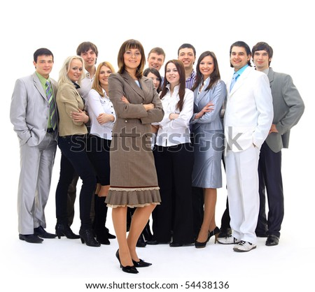 Visionary young business group - business woman with his colleagues in the background - stock photo