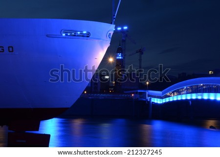Visit Hamburg and see some nice spactacular shows in the harbour  port  inner city  government house cityhall at the alster elbe river fantastic lights event sightseeing city-trip wallpaper background - stock photo
