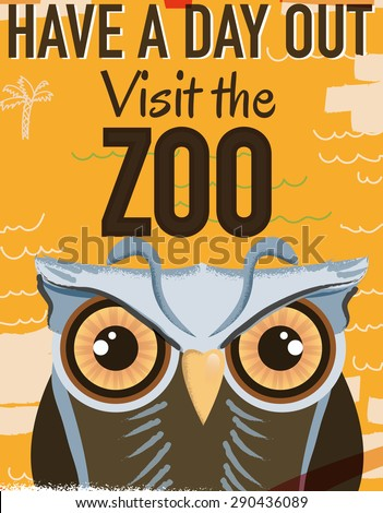 Visit the Zoo vintage poster, This is a Owl Zoo vintage style travel poster. - stock photo