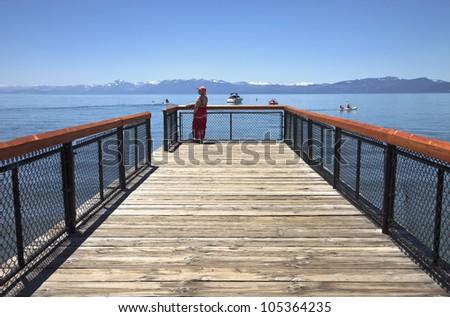 Visiting Lake Tahoe in Nevada and California. - stock photo