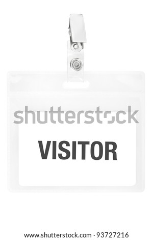 Visitor badge or ID pass isolated on white background, clipping path included
