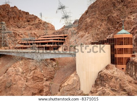 Visitor Center and power pylons at Hoover Dam