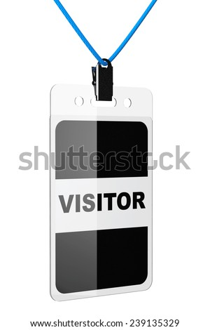 Visitor Identification card on a white background - stock photo