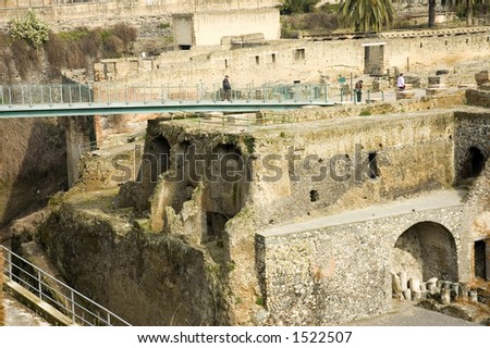 Visitors in  Herculaneum ruins, Naples, Italy - stock photo