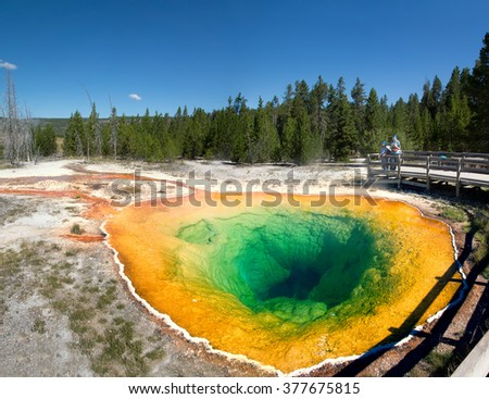 Visitors to Yellowstone National Park look at Morning Glory Pool. Wyoming, USA