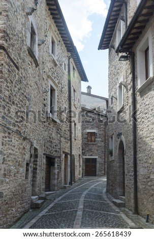 Visso (Macerata, Marches, Italy), historic buildings: old typical street - stock photo