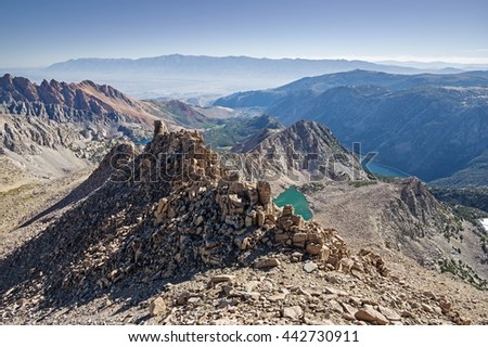 vista from the summit of Lamarck Col Peak in the Eastern Sierra Nevada Mountains - stock photo