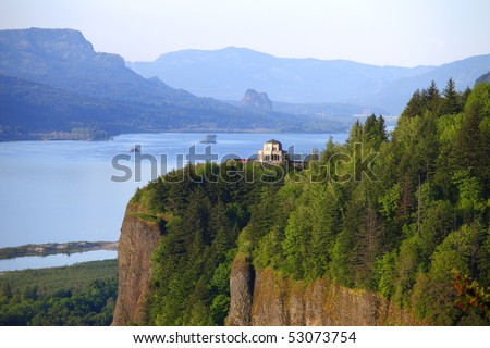 Vista house & Columbia River Gorge OR. - stock photo