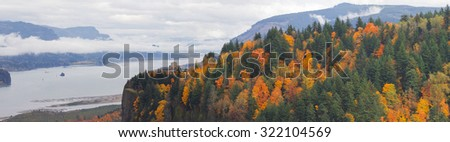 Vista House on Crown Point Along Columbia River Gorge Oregon in Fall Season Panorama - stock photo