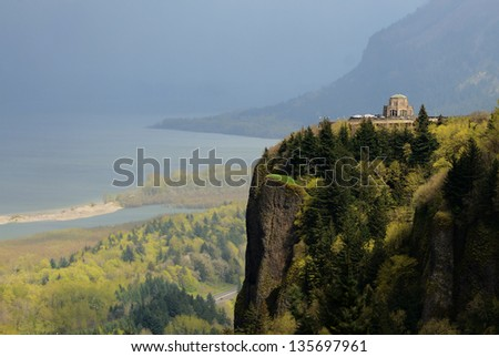 Vista House was built in 1917 on one of the most beautiful scenic points on the Historic Columbia River Highway, Crown Point, near Portland Oregon - stock photo