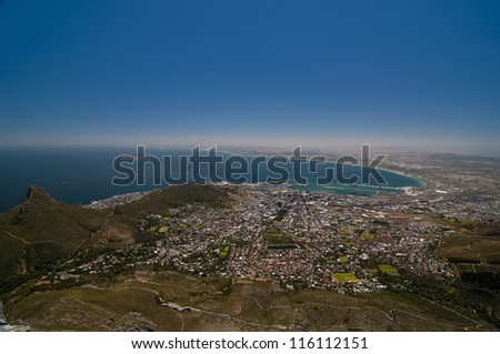 Vista of Cape Town from Table Mountain - stock photo
