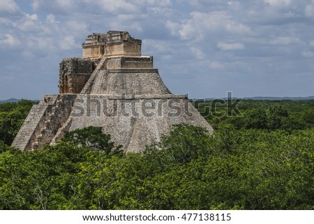 Vista of temple at Uxmal, Mexico.