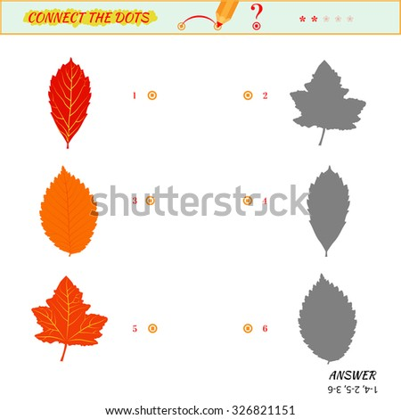 Visual game for kid. Matching applications game. Connect the dots picture. Puzzle, maze, jigsaw, quiz, rebus, game for preschool child. Cartoon leaves - stock photo