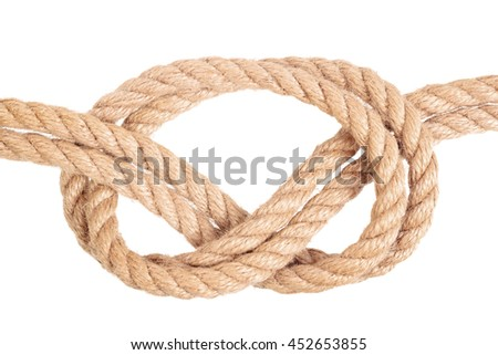 "Visual material or guide on execution of ""Overhand Bow Knot"". Isolated on white background. Illustration for a survival guide."