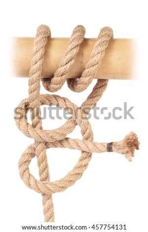 "Visual material or guide on execution of ""Rolling Hitch Knot"". Isolated on white background.  for a survival guide."