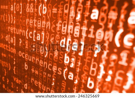 Visual modern display of data source code. Programming code abstract screen of software developer. Computer script. Red color.  - stock photo