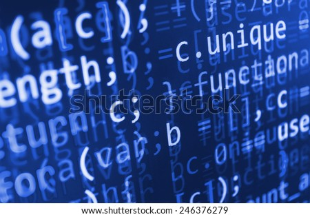 Visual modern display of data source code. Programming code abstract screen of software developer. Computer script. Blue color.  - stock photo