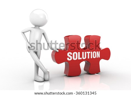 visual puzzle and he emphasized the solution post. - stock photo