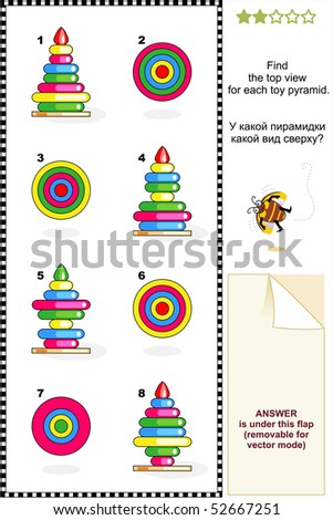 Visual puzzle (suitable both for kids and adults): Find the top view for each toy pyramid (stacking tower of wooden rings). For vector EPS see image 52667248  - stock photo