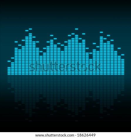 Visualisation of sound waves - stock photo