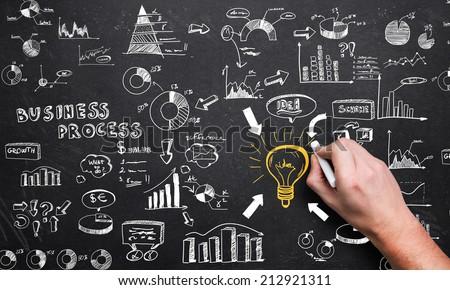 visualization of a big business process on a chalkboard - stock photo