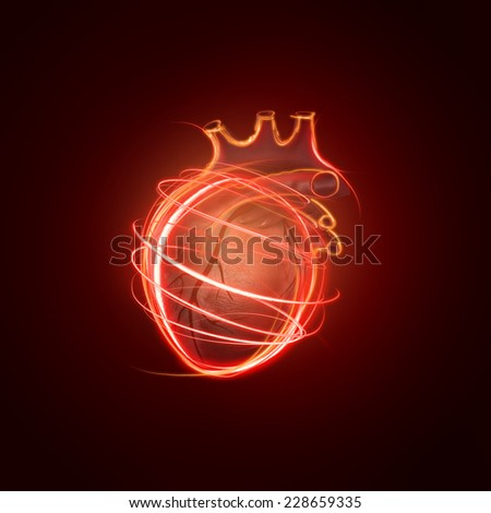 visualization of the human heart made of neon lines over black background - stock photo