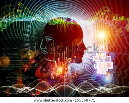Visually attractive backdrop made of human feature lines and symbolic elements suitable as element for layouts on human mind, consciousness, imagination, science and creativity - stock photo