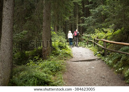 vital senior couple hiking on up hill track in the forest in austrian alps  - stock photo