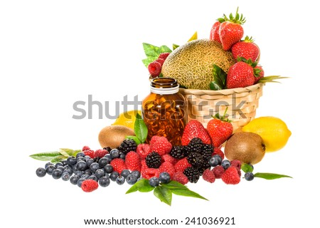 Vitamin and Mix fruit isolated on white background - stock photo